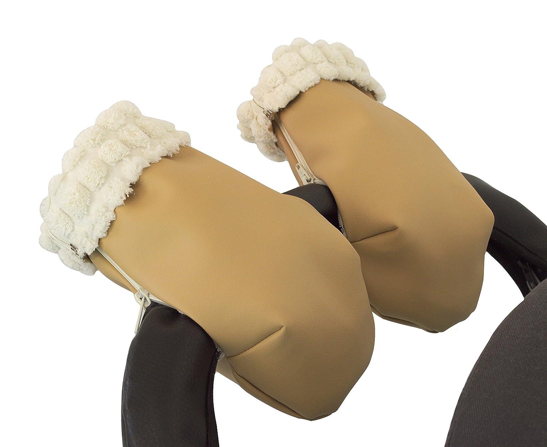 Manoplas guantes para carrito silla de bebé pelo extra-suave y ecopiel. Camel