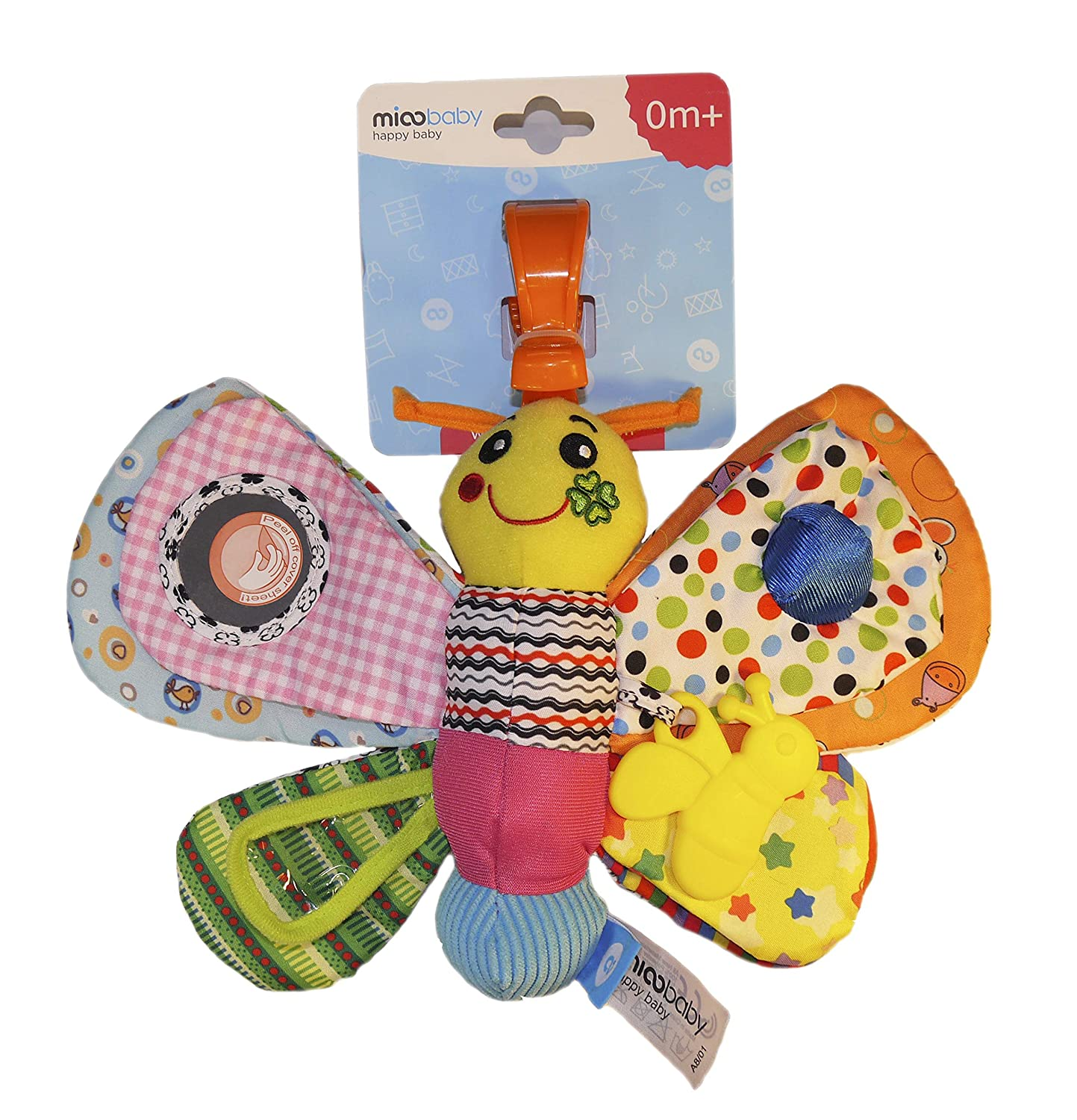 """Awesome Sound and Sensory Toy for Newborn and Infant Baby 0-2 Year Pram or Stroller Mioobaby Soft Hanging Toy /""""My Busy Butterfly/"""" for Car Seat with Teether Crib Perfect for Boys and Girls"""