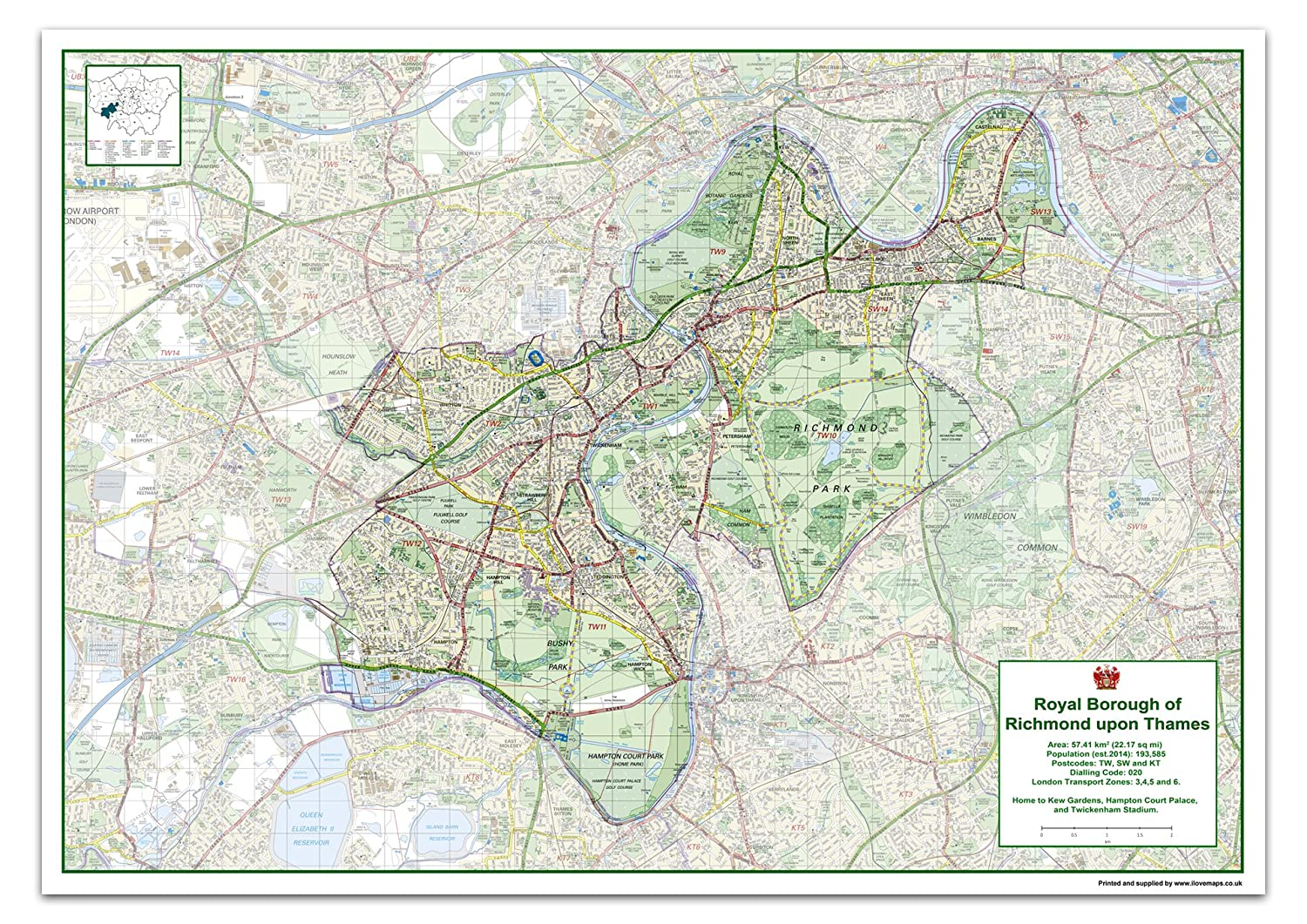 London Borough Of Richmond Upon Thames Map Size 118 9 X 84 1 Cm
