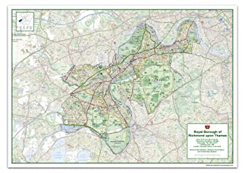 Richmond London Map.London Borough Of Richmond Upon Thames Map Size 118 9 X 84 1 Cm