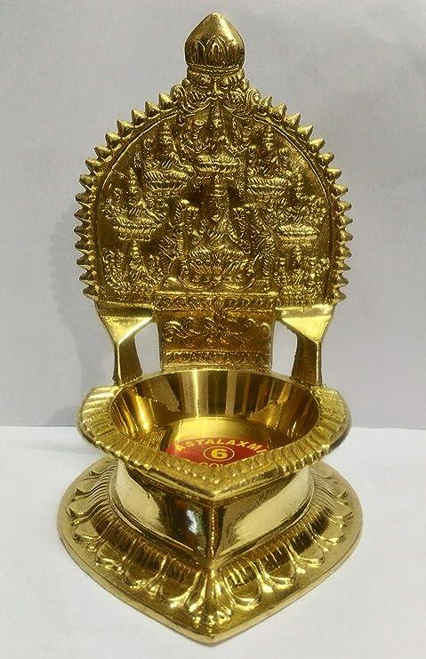 NAYAGI - Traditional Pure Brass Divine ASHTALAKSHMI VILAKKU - [ Diya/Oil LAMP ] - Large Size - 16 cm / 6.5 INCH HIGH