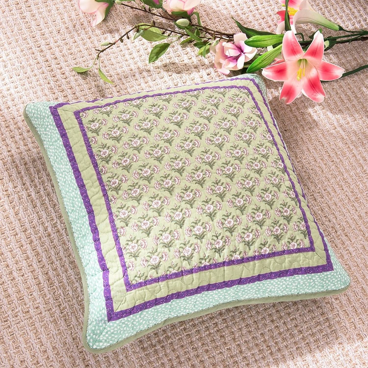 DaDa Bedding Set of Two Frosted Pastel Gardenia Bohemian Patchwork Quilted Square Pillow Accent Cushion Cover Cases