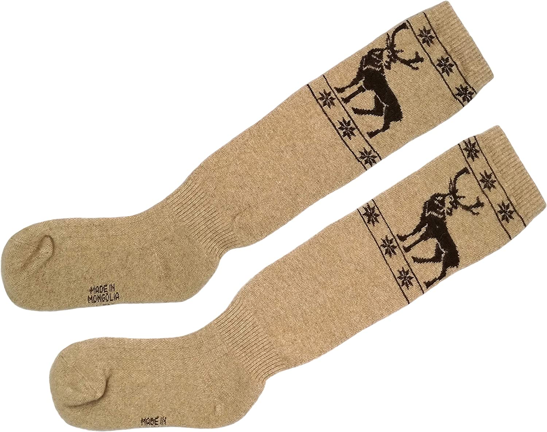 Womens Warm Soft 70/% Camel Wool Knee High Socks Half-hose Beige,1 pair.Made in Mongolia.
