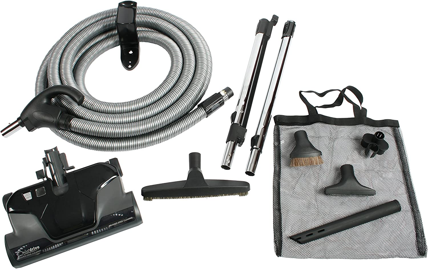 Cen-Tec Systems Central Vacuum Electric Powerhead Kit, Direct Connect Hose, Black