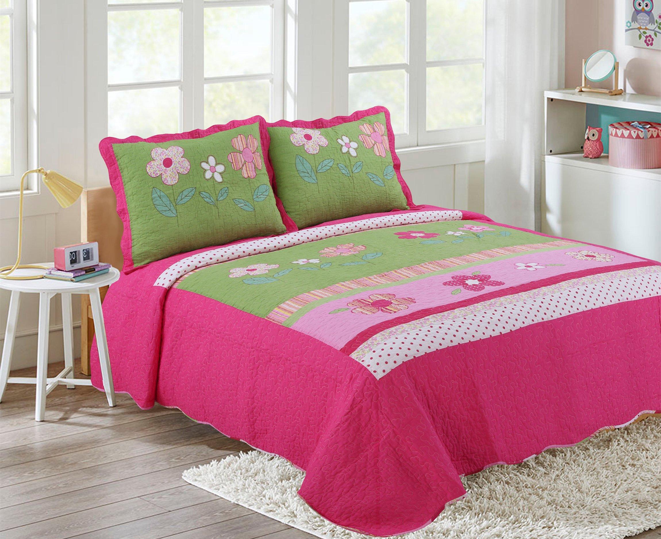 HNNSI Girls Flower Kids Quilt Bedspread Set Queen Size 3PCS,100% Cotton Girls Comforter Kids Bedding sets, Kids Girls Bed Sheet Sets (Queen, Pink floral)
