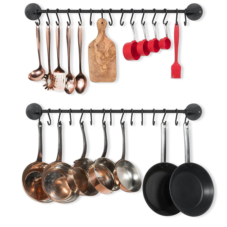 Wallniture Kitchen Pot Racks, Set of 2 Wall Rails + 20 Hooks, Solid Iron, 33