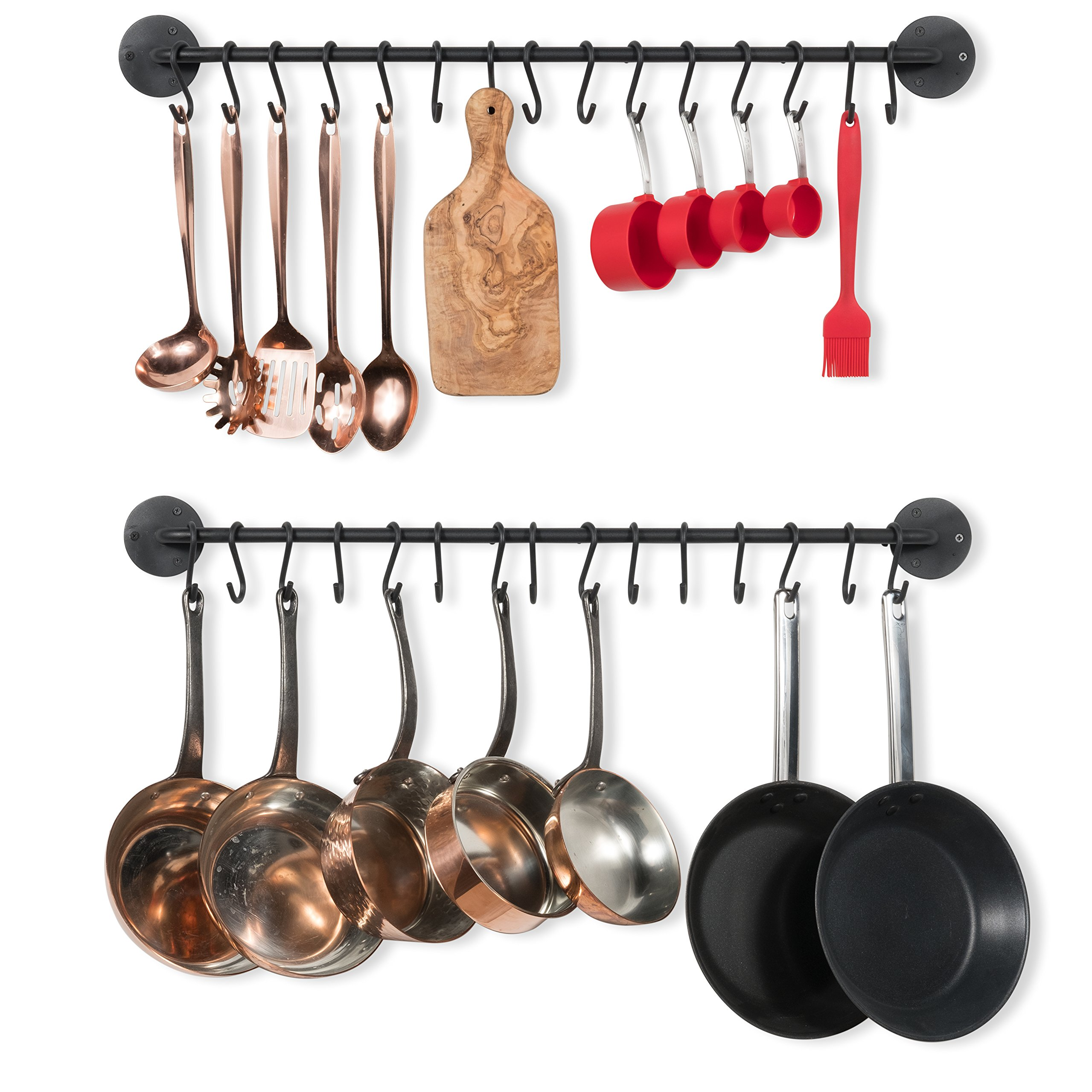 Wallniture Kitchen Pot Racks, Set of 2 Wall Rails with 20 Hooks, Solid Iron, 33 inches by 2 inches by 4 inches, Black by Wallniture