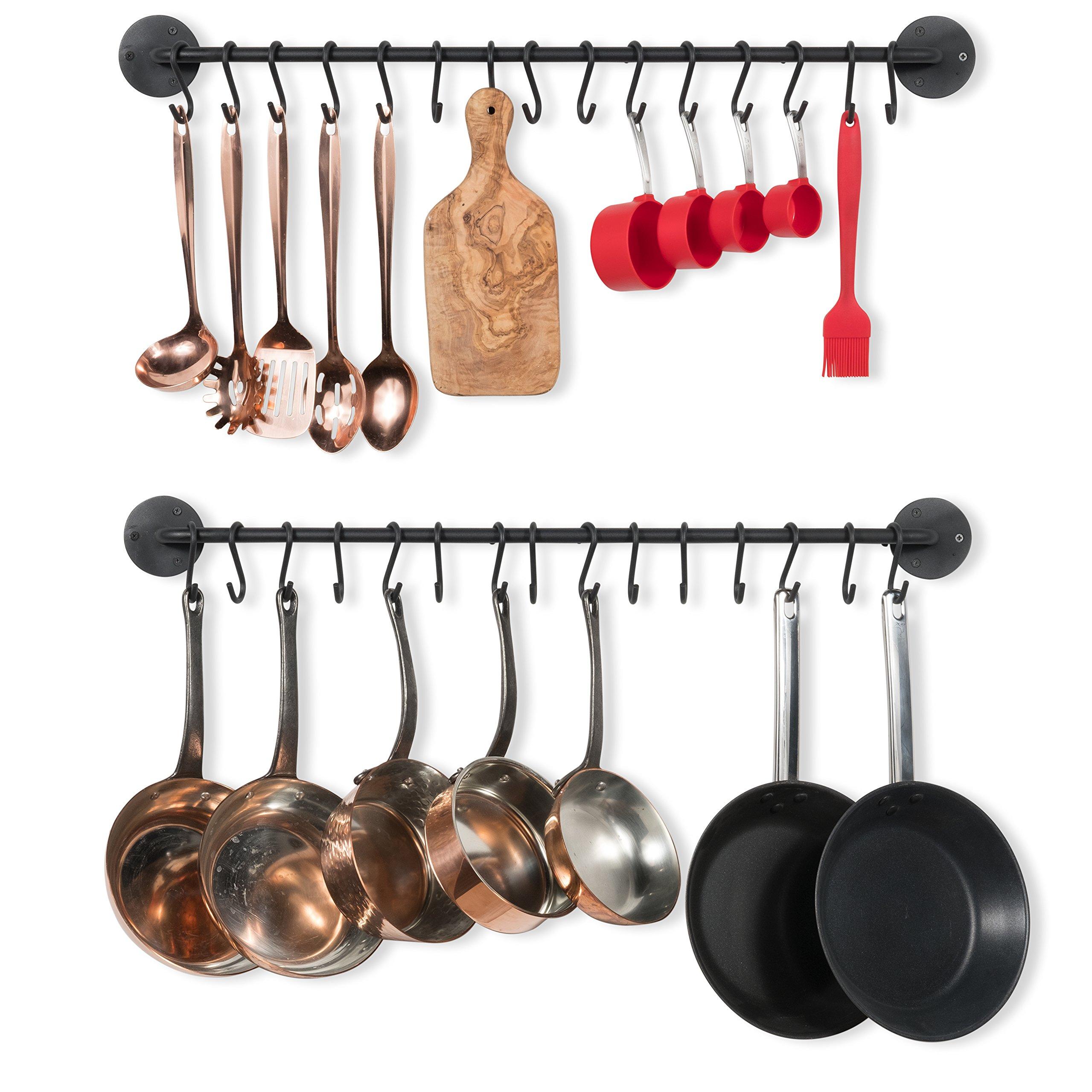 Wallniture Kitchen Pot Racks, Set of 2 Wall Rails + 20 Hooks, Solid Iron, 33'' x 2'' x 4'', Black