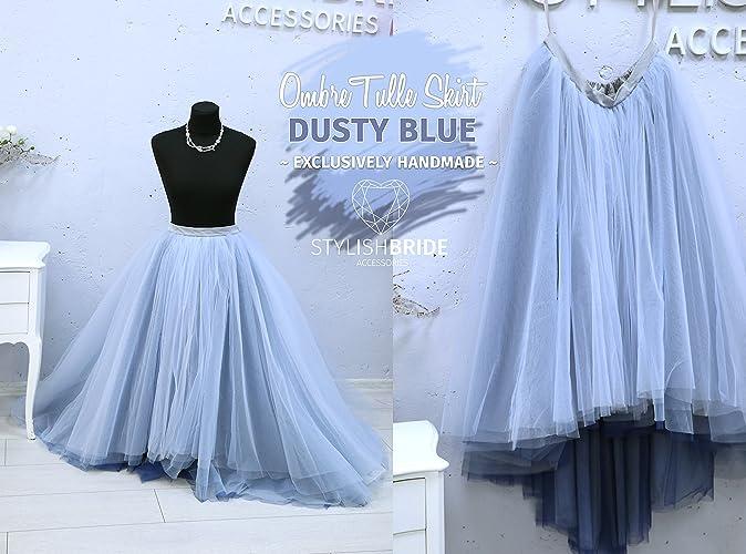 b3a11f0a184df Amazon.com: Dusty Blue & Indigo Ombre Super Lush Wedding Tulle Skirt ...