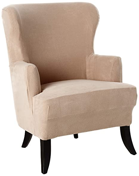 Admirable Surefit Stretch Wing Chair Slipcover Taupe Machost Co Dining Chair Design Ideas Machostcouk