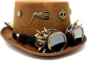 Storm buy ] Steampunk Style Metallic Top Hat Scientist Time Traveler Feather Halloween Costume Cosplay Party with Goggles