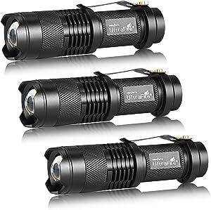 3 Pack UltraFire Mini Flashlights Focus Adjustable SK68 Single Mode Tactical LED Flashlight, Ultra Bright 300 Lumens Torch