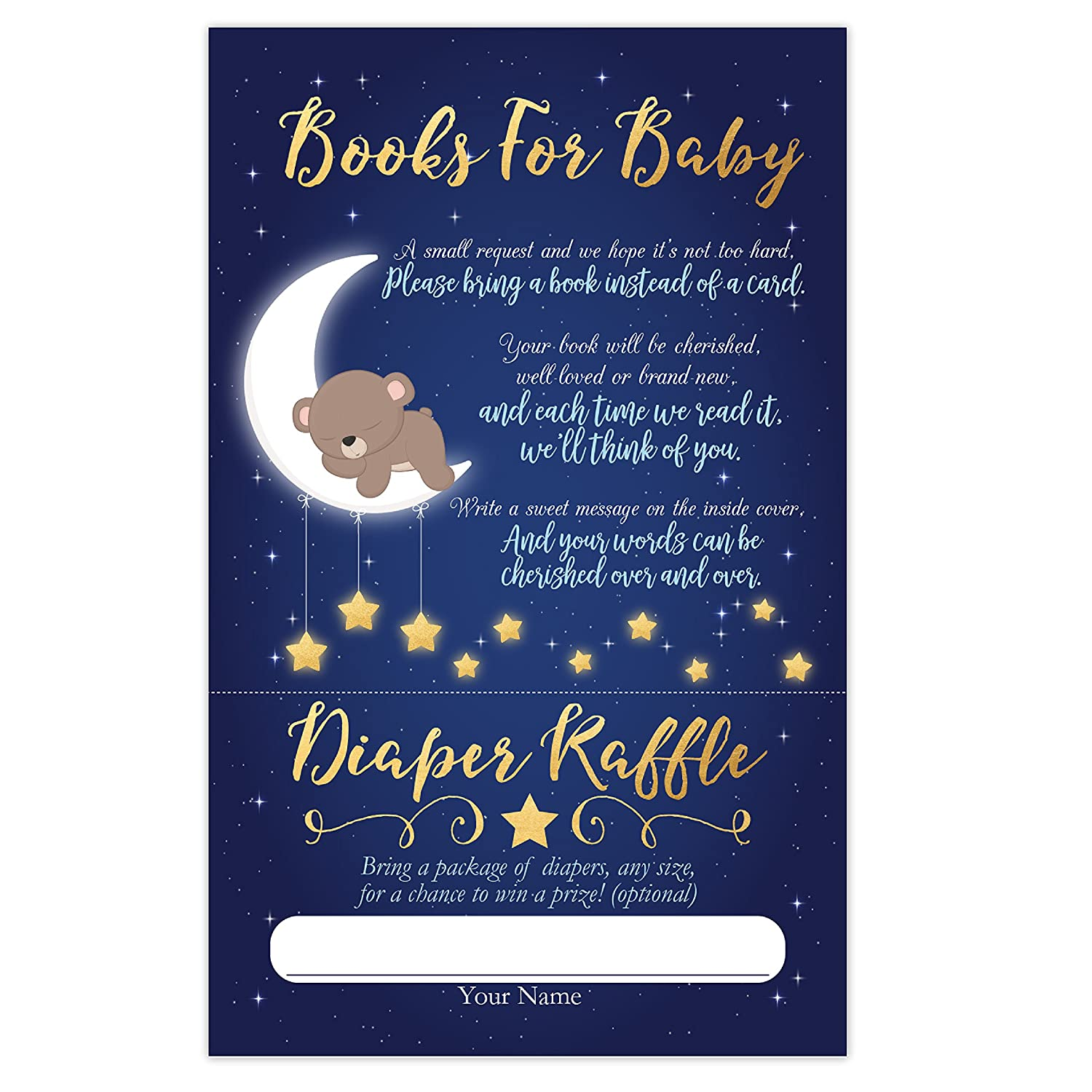 Love You to The Moon and Back 50 Count Your Main Event Prints Moon Bear Book Request Cards Twinkle Twinkle Little Star Boy Moon Bear Baby Shower Diaper Raffle Cards