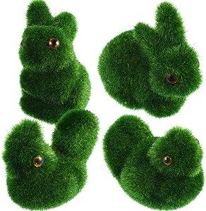 meekoo Turf Grass Rabbit Artificial Moss Bunny Flocked Animal Figurines Ornament for Home Garden Yard Office Decoration