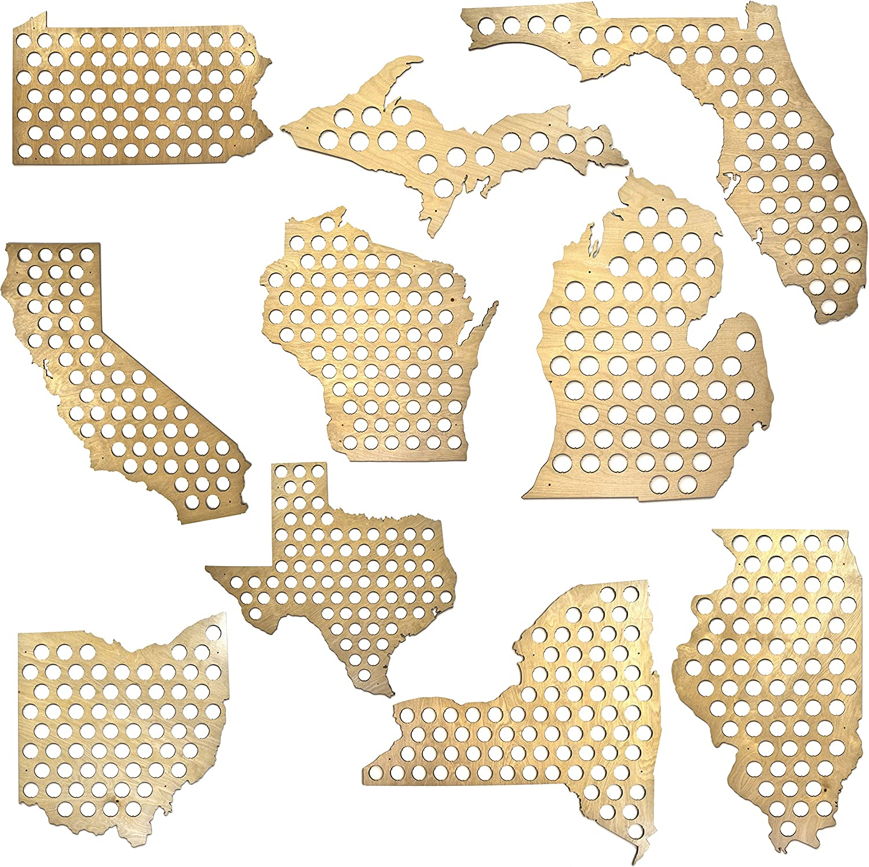 All 50 States Beer Cap Maps - Michigan Beer Cap Map MI - Glossy Wood - Skyline Workshop