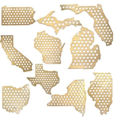 All 50 States Beer Cap Maps - Michigan Beer Cap Map MI - Glossy Wood - Skyline Workshop