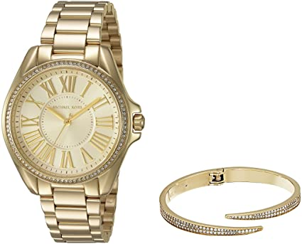 f73c34b3643f7 Amazon.com  Michael Kors Women s Kacie Gold-Tone Watch and Bracelet ...
