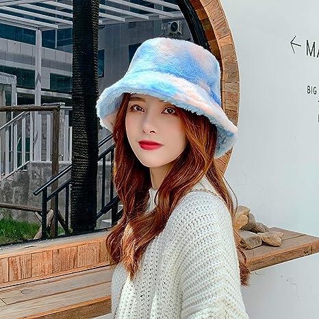 Tie Dye Bucket Hat for Women,Double-Side-Wear Reversible Fisherman Cap Fluffy Gizayen Winter Warmer Rainbow Hat Color