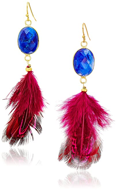 Panacea Druzy & Feather Drop Earrings V22XO2km9