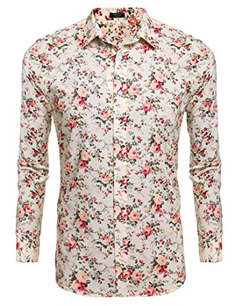 052b99bbf0f3 COOFANDY Men Casual Long Sleeve Stand Collar Button Floral Prints Shirts ,Beige,Small