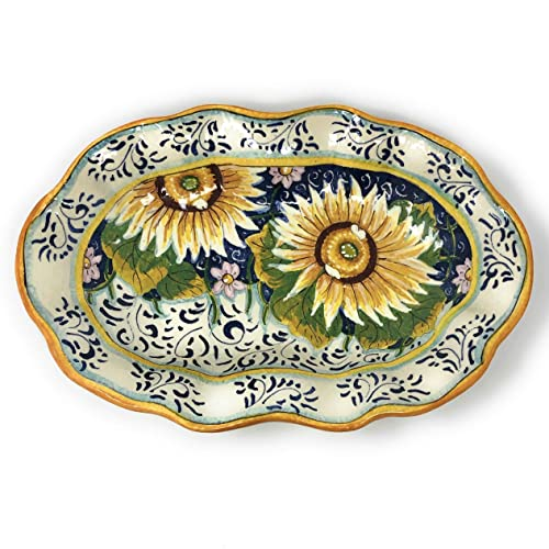 CERAMICHE DARTE PARRINI Italian Ceramic Art Pottery Serving Bowl Centerpieces Tray Plate Hand Painted Decorative Sunflowers Landscape Tuscan Made in ITALY