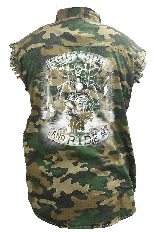 SHORE TRENDZ Mens Camo Sleeveless Denim Shirt Shut Up and Drive Hog Bike Denim Vest