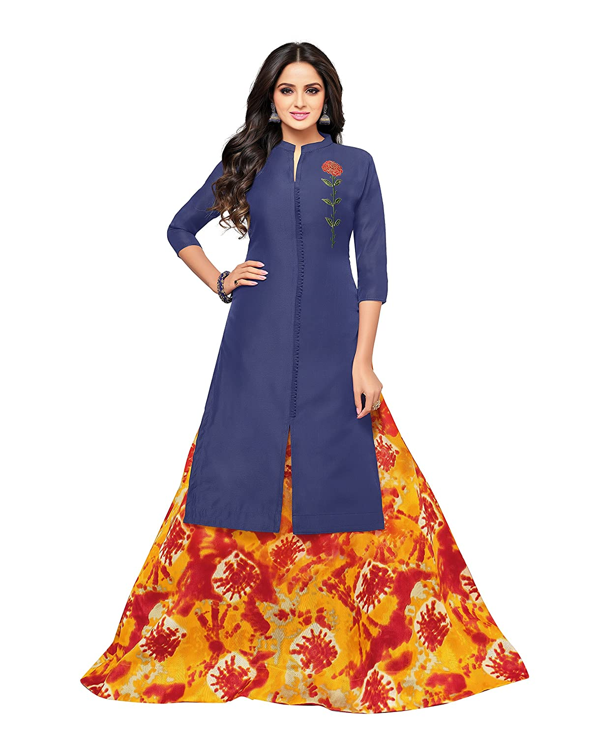 OOMPH! Women's Unstitched Cotton blend Salwar Suit Dupatta Material - Navy Blue