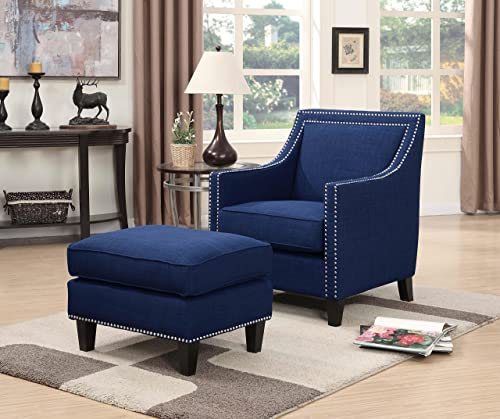Picket House Furnishings Emery Chair Ottoman Blue
