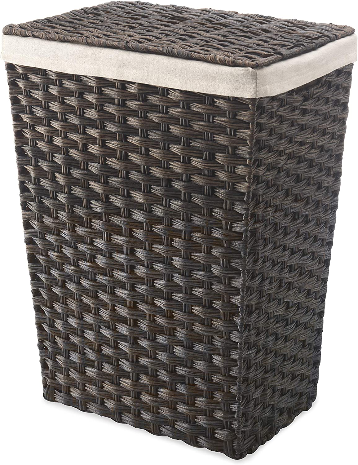 Amazon Com Whitmor Rattique Laundry Hamper With Lid And Removable Liner Espresso Home Kitchen