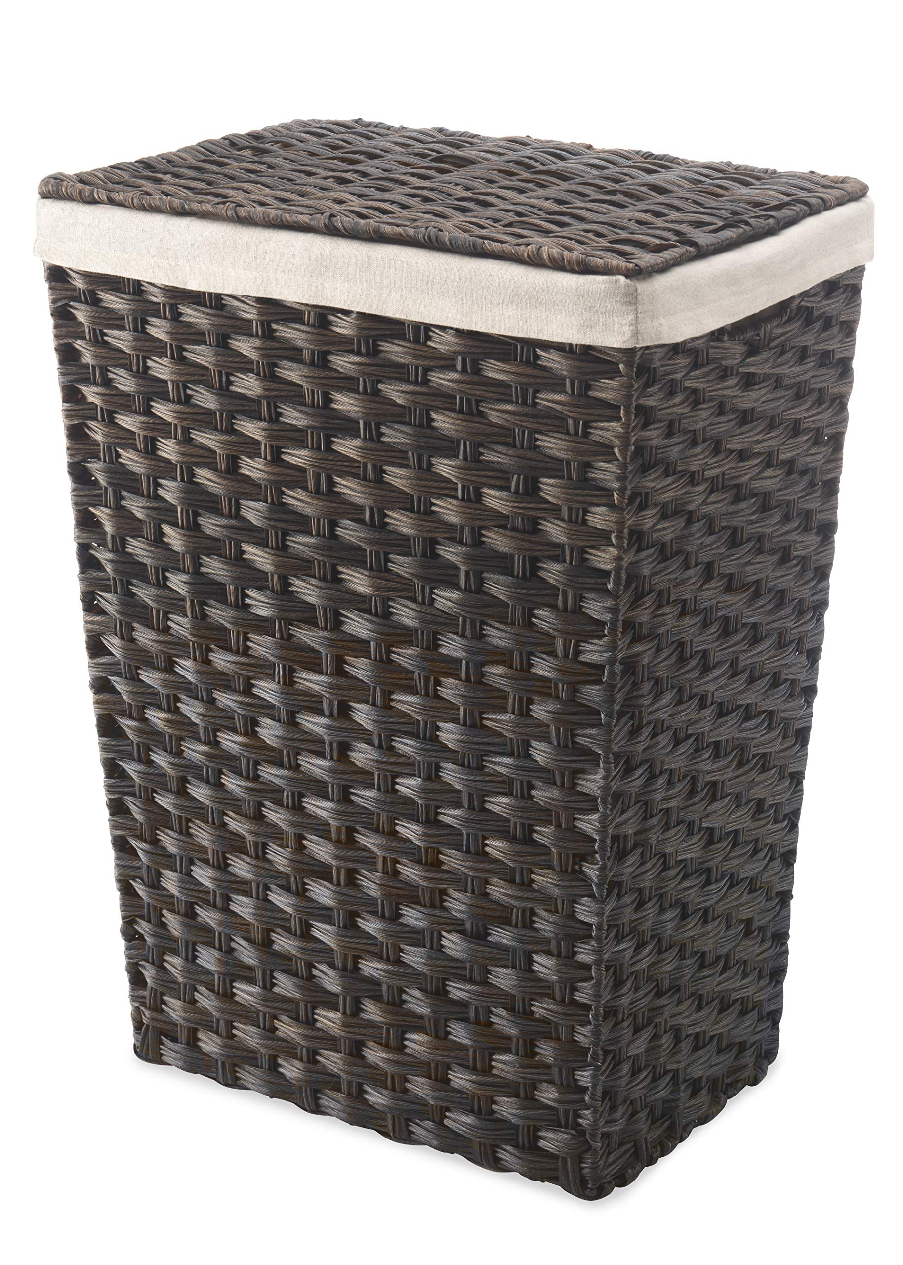 Whitmor Rattique Laundry Hamper with Lid and Removable Liner - Espresso by Whitmor