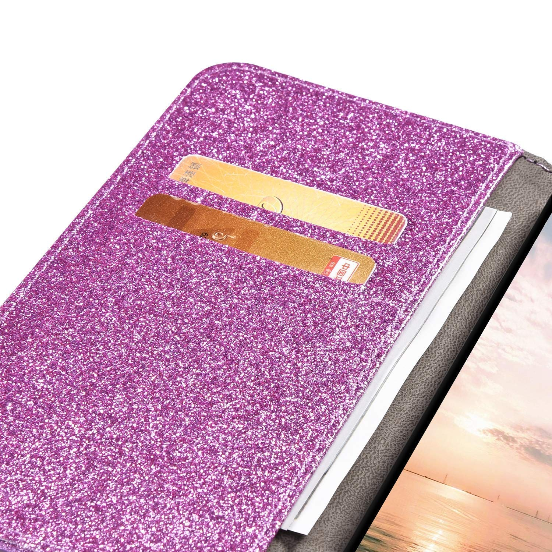 QPOLLY Compatible avec Samsung Galaxy A50 Coque de Protection 3D Brillante Glitter Paillette Papillon Housse Cuir PU Flip Etui /à Rabat Fermeture Magn/étique Portefeuille Case avec Stand Support,Rose