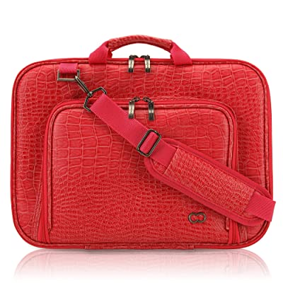 11 Inch MacBook Air CaseCrown Alligator Messenger Laptop Case with Memory Foam (Red)