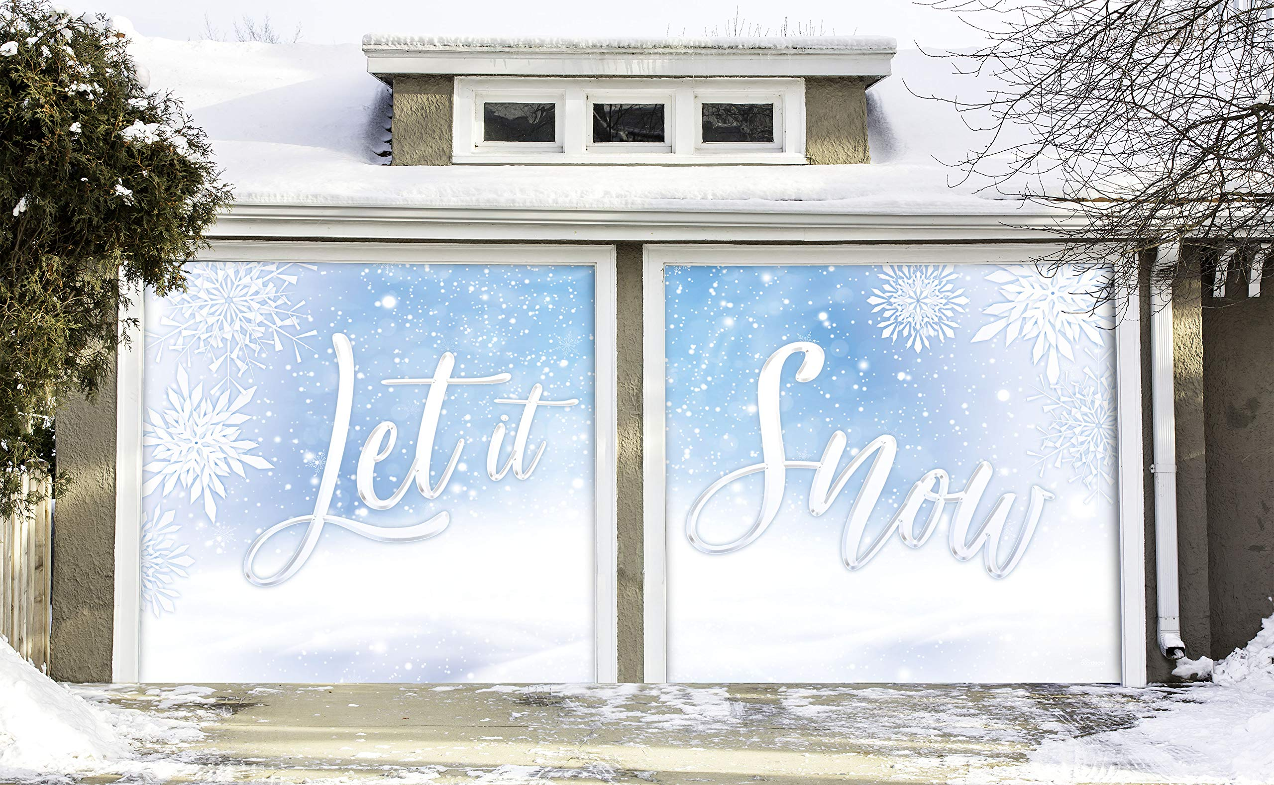 Victory Corps Let it Snow - Holiday Garage Door Banner Mural Sign Décor 7'x 8' Split Car Garage - The Original Holiday Garage Door Banner Decor