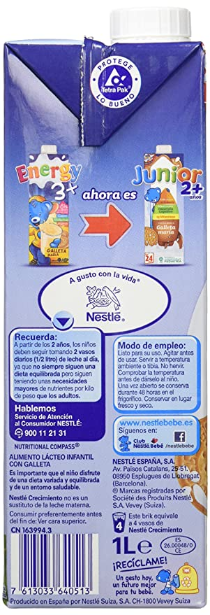 Nestle - Leche Junior Crecimiento con sabor a galleta María +2 años, 6 x 1L - Total: 6 L: Amazon.es: Alimentación y bebidas