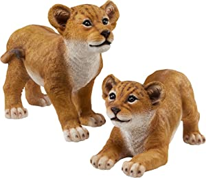 Design Toscano QM9287 Lion Cubs of The Sahara Animal Statues, Set of 2, Full Color