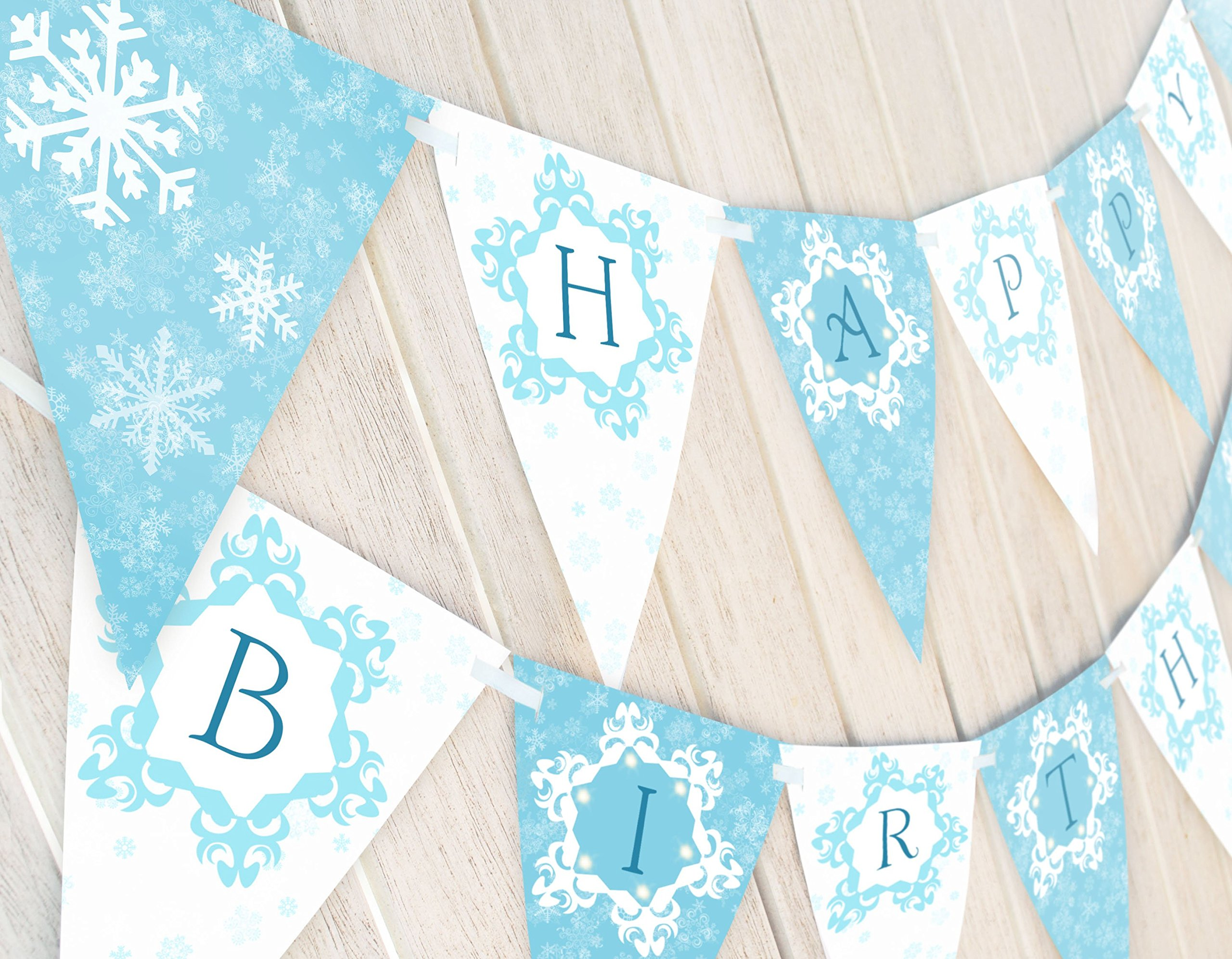 Snow Princess Birthday Banner - Winter Birthday Banner by POP parties by POP parties
