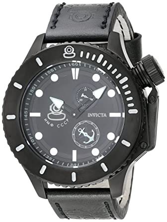 Invicta Men's 'Russian Diver' Swiss Quartz Stainless Steel and Leather  Casual Watch, Color