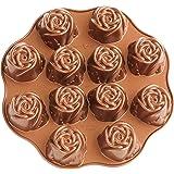 Nordic Ware Cast-Aluminum Nonstick Sweetheart Rose Muffin Pan, Black