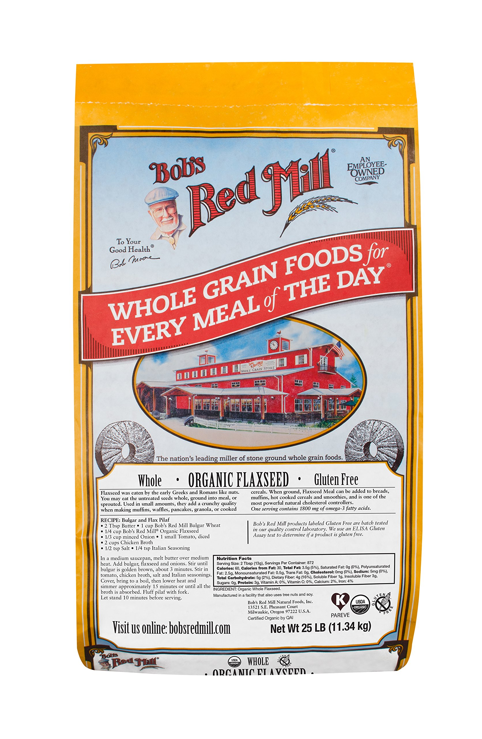 Bob's Red Mill Organic Raw Whole Brown Flaxseeds, 25 Pound