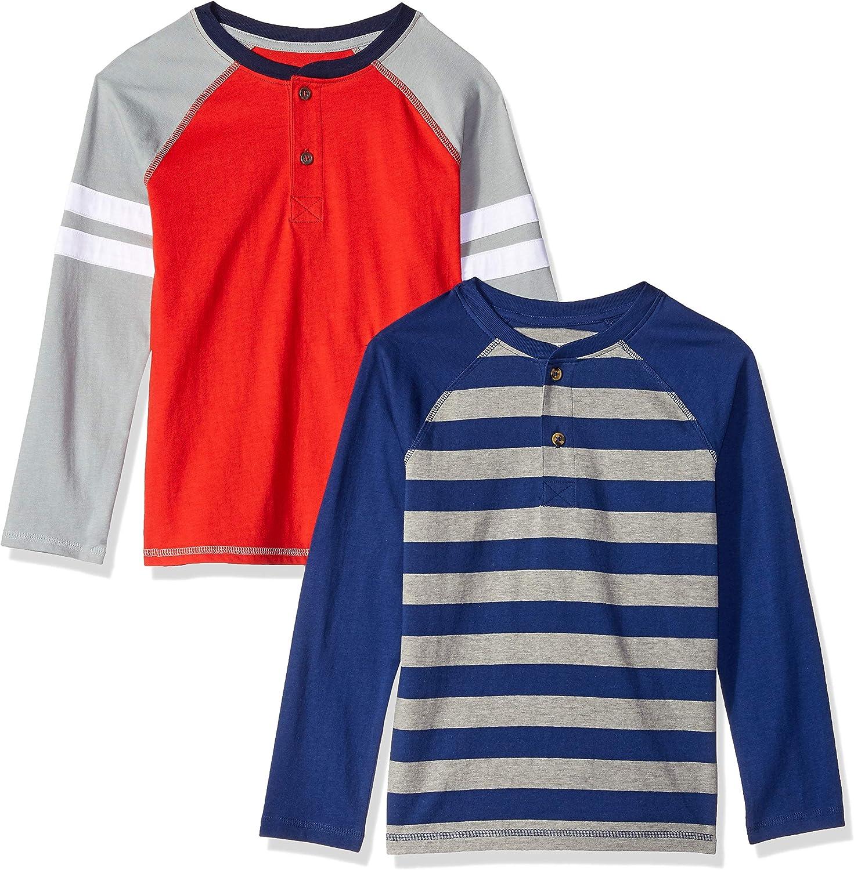 Spotted Zebra Boys Toddler /& Kids 2-Pack Long-Sleeve Henley Shirts Brand