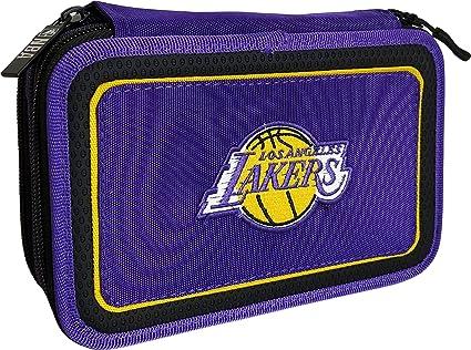 NBA LOS ANGELES LAKERS estuche 3 cremalleras completo 62613: Amazon.es: Oficina y papelería