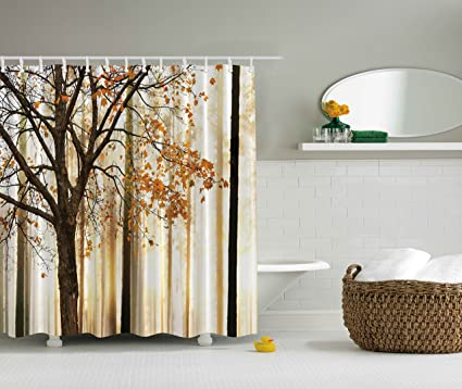 Ambesonne Extra Long Shower Curtain Fall Trees By Polyester Fabric Abstract Decorations Landscape Theme Art