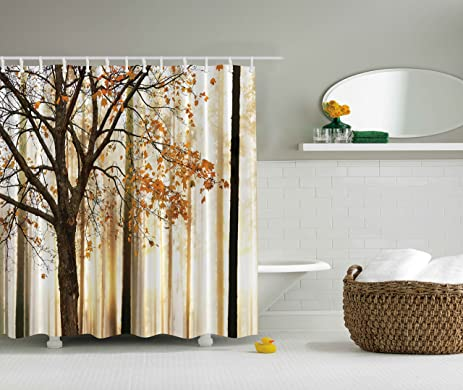 Extra Long Shower Curtain Fall Trees By Ambesonne Polyester Fabric Abstract Decorations Landscape Theme Art