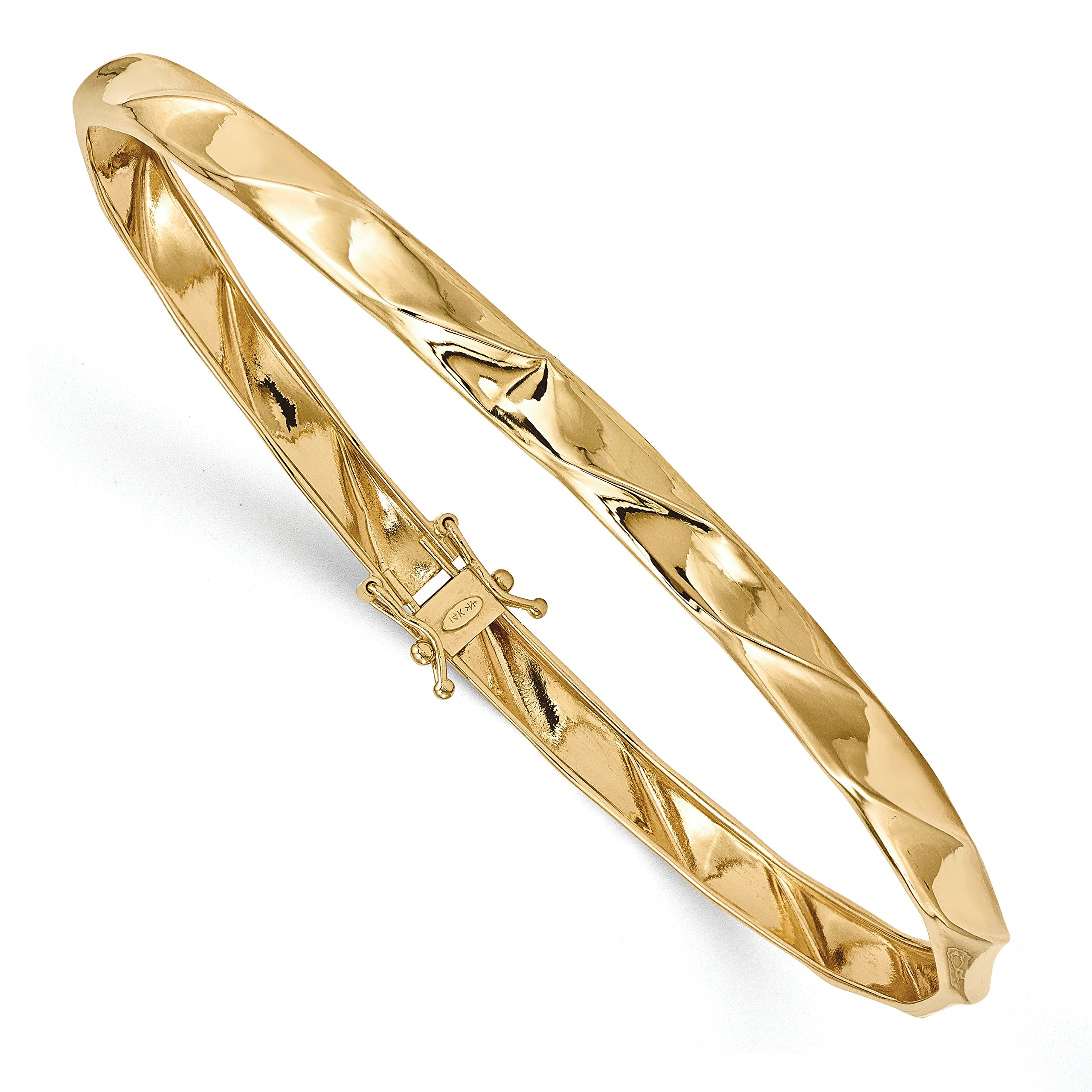 ICE CARATS 14k Yellow Gold Twisted Bangle Bracelet Cuff Expandable Stackable Hinged Fine Jewelry Gift Set For Women Heart