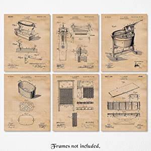 Vintage Laundry Room Patent Art Poster Prints, Set of 6 (8x10) Unframed Photos, Great Wall Art Decor Gifts Under 20 for Home, Office, Garage, Shop, Utilities Room, Student, Teacher, Decorator, Fan