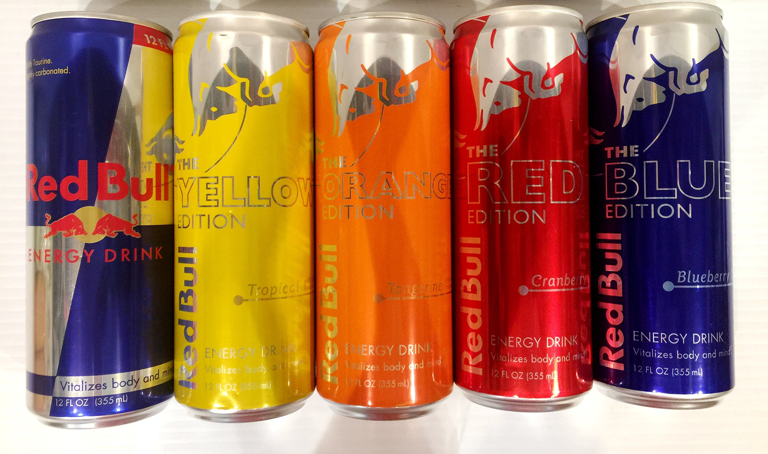 Red Bull Editions Variety Pack - Yellow, Red, Blue, Orange, Original 12 Ounce. 5 Pack.