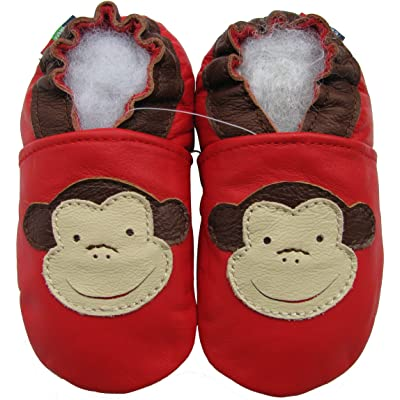 carozoo frog red 12-18m soft sole leather baby shoes