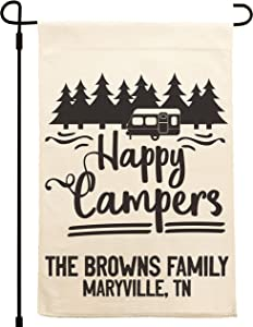 UTF4C Personalized Camping Flag Camper Garden Flag, Custom Campsite Sign Garden Flag, RV Campsite Garden Flag, Happy Campers, Adventure Awaits w/Family Name - 18