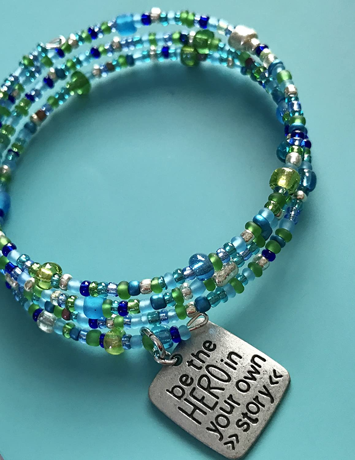 Amazon.com: Triple wrap memory wire bracelet with glass beads and ...
