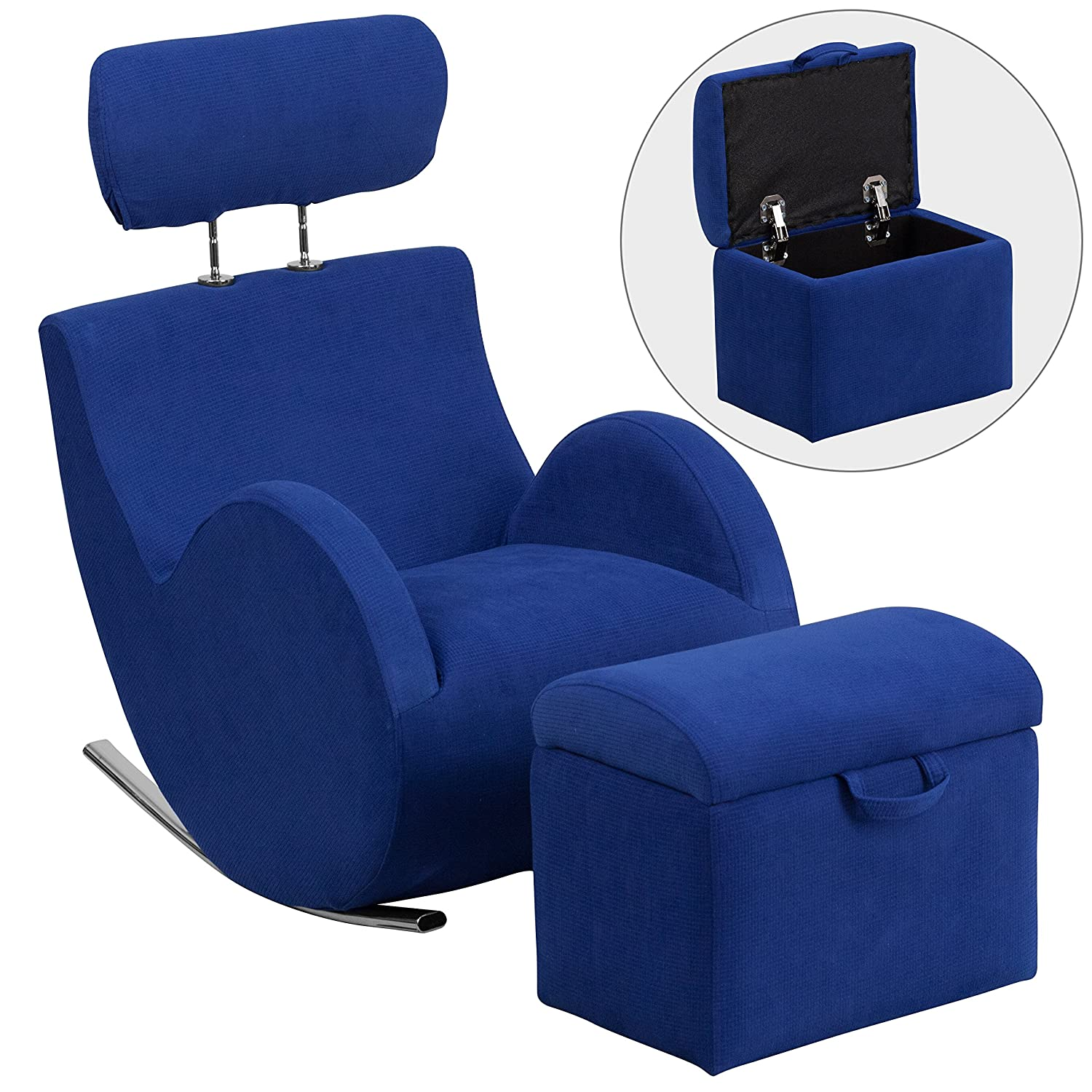 Flash Furniture LD-2025-BL-GG HERCULES Series Blue Fabric Rocking Chair with Storage Ottoman